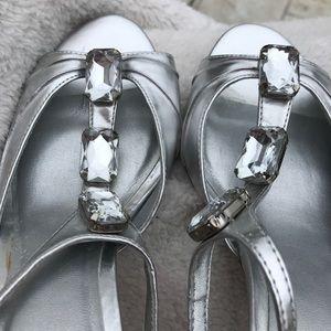 NWOT silver jewel strappy heels